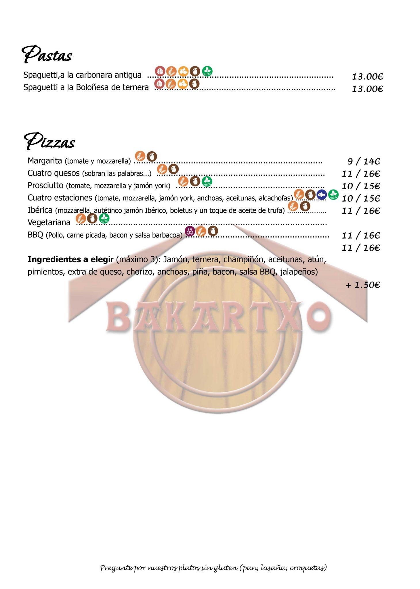 Carta Restaurante Bakartxo